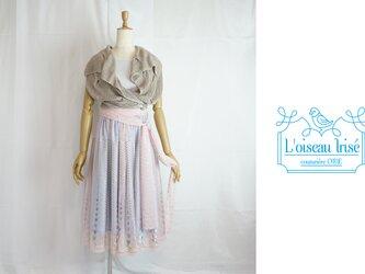チューリップ刺繍のゴムギャザースカートの画像