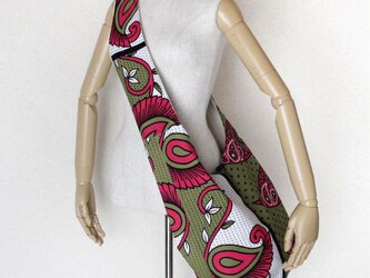 アフリカ布のショルダーバッグ   グラスグリーンの画像