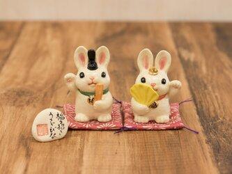 福々招きうさぎびな ウサギのお雛様人形の画像