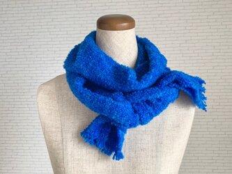 青い宝石 手織りストールの画像