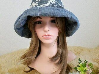 ★ギャザーフリル 帽子★ Flower刺繍 ダンガリーの画像