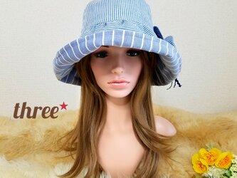 ★ギャザーフリル 帽子★コサージュ付き   コットン ストライプの画像