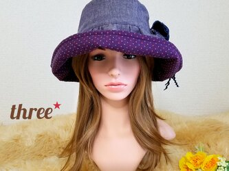 ★ギャザーフリル 帽子★コサージュ付き   パープル ダンガリー×ドットの画像