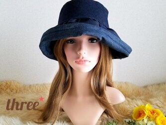 ★ギャザーフリル 帽子★   デニム× 蝶の画像