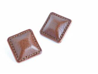 """【レザーピアス/イヤリング】 Airas~square~ """"brown""""の画像"""