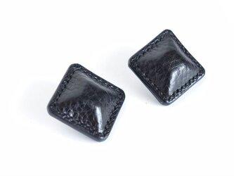 """【レザーピアス/イヤリング】 Airas~square~ """"black""""の画像"""