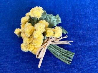 布花 ミモザのブーケコサージュAの画像