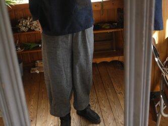 久留米絣スラッシュポケットのパンツの画像