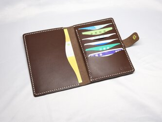 ヌメ革 手縫いのお薬手帳ケース(ダークブラウン)の画像