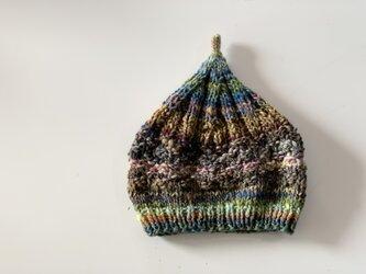 1点限定!どんぐりニット帽子 野呂英作毛糸使用 ブラウングリーンの画像