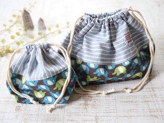お弁当袋・コップ袋セット*巾着 ぞう・ブルーストライプ 入園入学の画像