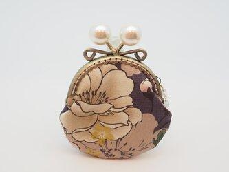気持ち華やぐがま口ポーチ・コインケース(口金8.5センチ)牡丹・グレー調パープルの画像