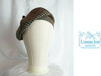 ハウスチェックのベレー帽の画像
