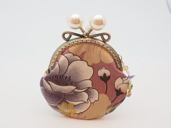 気持ち華やぐがま口ポーチ・コインケース(口金8.5センチ)牡丹・ピンクの画像