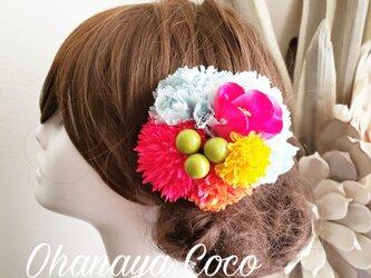 花kirari カラフルお花の髪飾りクリップピン仕上げ No722の画像