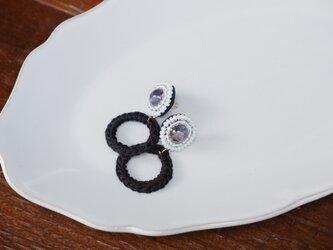 14kgf / アイオライトとビンテージビーズ刺繍のクロッシェリングminiの画像