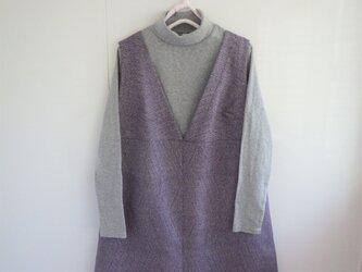 Vネックワンピース  着物リメーク 紫 の画像