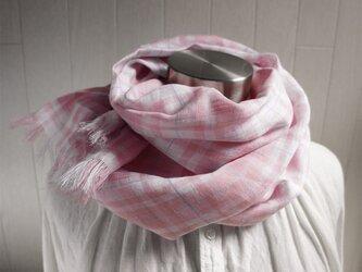 上質ベルギーリネンのストール ピンク×白 チェックの画像