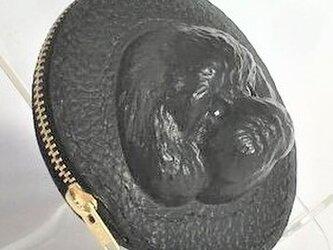 トイプードルの本革コインケース(黒)の画像