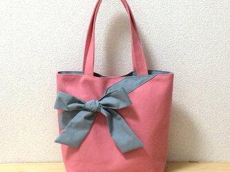 【動画あり】大人かわいい☆くすみピンク帆布8号✖グレーリボン トートバッグの画像
