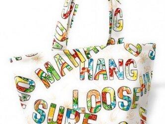 ハワイアン ミニ トートバッグ ワード柄 クリーム[mmt-206]の画像