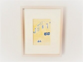 原画「黄金通りの帰り道」水彩イラスト ※木製額縁入りの画像