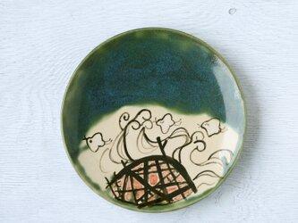 織部平皿(花籠と波千鳥)の画像