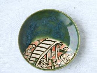 織部平皿(橋と波模様)の画像