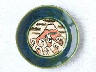 織部平皿(赤富士と波模様)の画像
