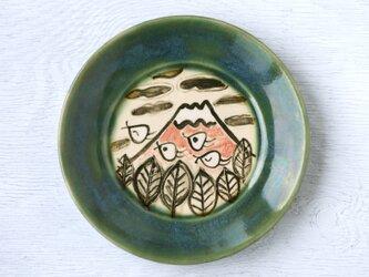 織部平皿(赤富士と千鳥)の画像