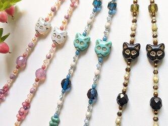 猫とチェコビーズのグラスコード(メガネチェーン・ストラップ)リーディンググラス、ハズキルーペに/おしゃれ/パーティにもの画像