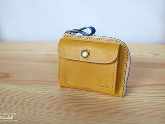 ポッケのついたちいさなお財布 【限定色】イエロー イタリアレザーの画像