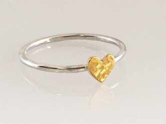 Golden Heart ◇K24 Pure Gold +Silver Ring◇純金+銀◇ハートの指輪/リングの画像