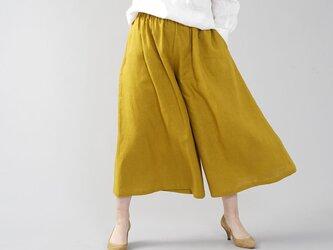 【wafu】中厚 リネン ワイドパンツ スカーチョ キュロットパンツ ボトムス ワイドパンツ /マスタード b002a-mtd2の画像
