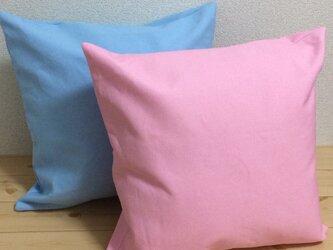 帆布のシンプルなパステルカラーのクッションカバー  ピンク/水色の画像