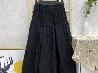 視線を集めるレース切替スカート ロングスカート  裏地付き ブラックの画像