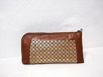 本革ハーフラウンド型 長財布(千鳥格子柄ゴールド)【一点物】の画像