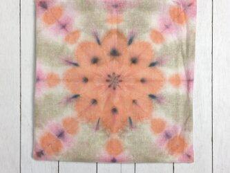 タイダイ染めチャクラクッション45×45cmサーモンピンクの画像