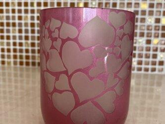 ピンクハートのバレンタインラブグラスの画像