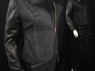 ChicArt./革とウールのライダースジャケットの画像