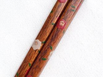 《再販》摺り漆の箸 〈漆絵・椿 (赤)〉の画像
