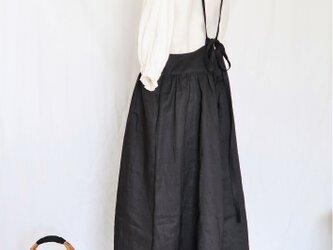 受注・ブラックリネン♡大人のサスペンダースカート♡ニュアンスたっぷり・ナチュラル系マストアイテム♪の画像