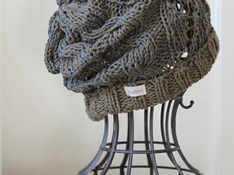 【しめつけないコットンのたっぷりアランニット帽】 綿&シルク100% カーキmix アースカラーの画像