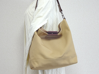 帆布ワンハンドルバッグ(キャメルベージュ)☆受注製作☆の画像