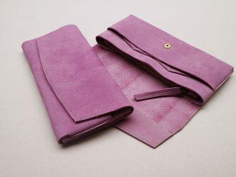 【ご予約済みSAMPLE品】やわらかい革の長財布 PURPLEの画像