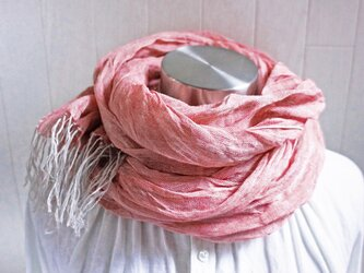 Decoオリジナル 上質リネン・シングルガーゼのストール バラ色ピンク×亜麻色の画像