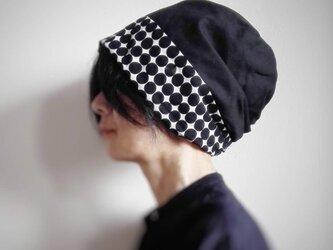 ターバンな帽子 黒ドット+ナチュラル 送料無料の画像
