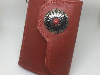 本革キーケース6連 レッド コンチョ ドロップハンドル付きの画像