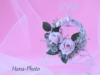 ガールズピンクのバラの可憐なリース  (リース台:直径15㎝)    (224)の画像