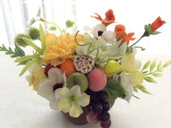 仏花     真珠の涙    福   (果物のお供え付き仏花)(造花、仏壇、お供え、お盆、お彼岸)の画像